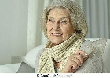 woman with flu inhalation