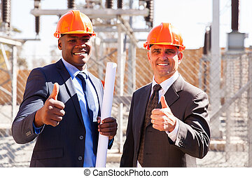 electrical inspectors giving thumbs up