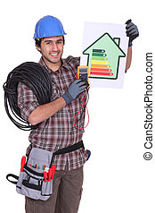 portrait of electrician all smiles