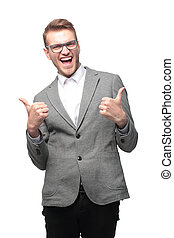 Portrait of emotional  business man with thumbs up