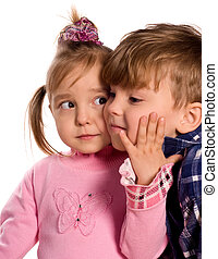 Portrait of emotionally kids. Beautiful caucasian models...