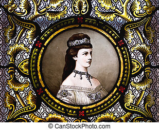 Empress Elisabeth of Austria on a stained glass