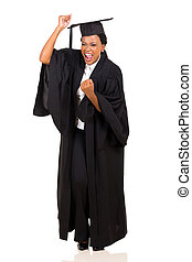 excited african female graduate