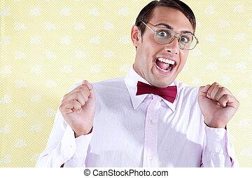 Portrait of Excited Goofy Man