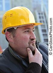 portrait of expressive foreman