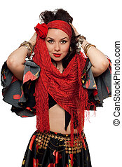 Portrait of expressive gypsy woman. Isolated
