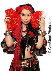 Portrait of expressive gypsy woman with cards