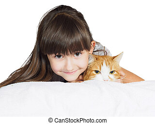 Portrait of face funny caucasian child kid girl sister with red cat isolated