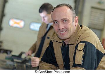 Portrait of factory worker in uniform