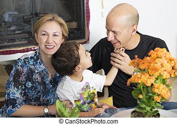 Happy Family enjoying at home