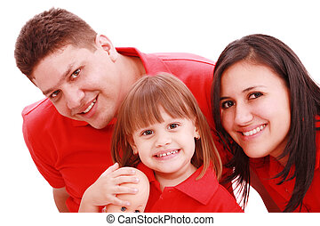 Portrait of family looking at camera on a white background