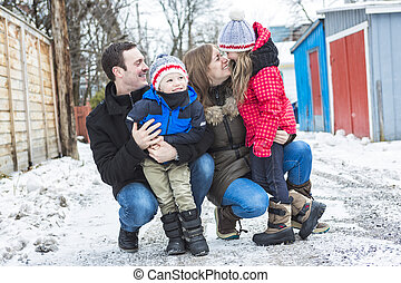 Portrait Of Family On Winter season