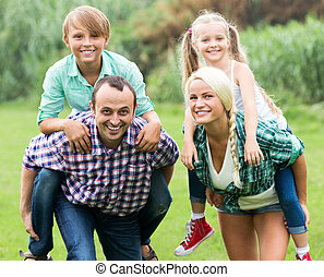 Portrait of family with children - Portrait of positive ...