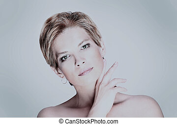 Portrait of fashion beauty woman with white short hair.