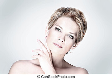 Portrait of fashion beauty woman with white short hair