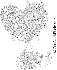 portrait of fashion woman with floral heart for your coloring bo