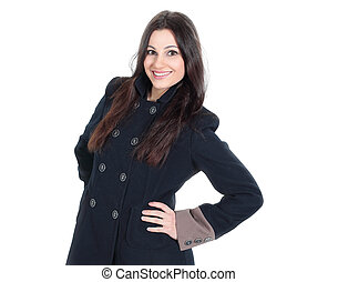 portrait of fashionable young woman in autumn coat.