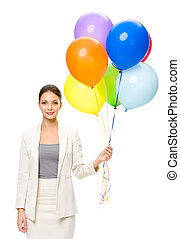 Portrait of female business man keeping colorful balloons