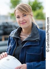 portrait of female construction worker