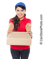 Female delivery service happily delivering package to...