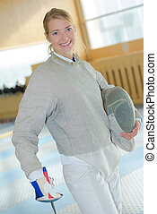 Portrait of female fencer