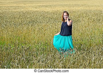 Portrait of female in field