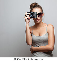 portrait of female photographer