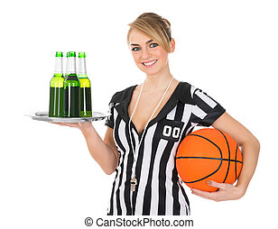Referee With Drinks And Basketball