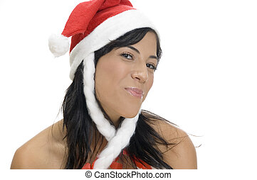 portrait of female with santa hat