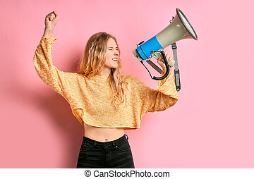 portrait of feminist woman with loudspeaker