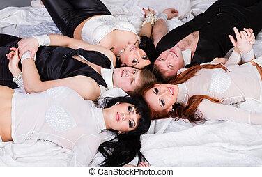 Portrait of five happy friends