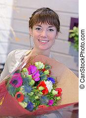 portrait of florist women in flowers shop