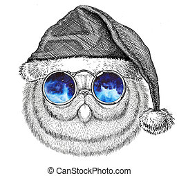 Portrait of fluffy persian cat wearing christmas hat New...