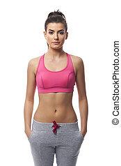 Portrait of focus fitness woman