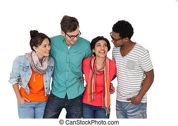 Portrait of four happy young friends