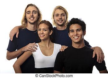 portrait of four young friends