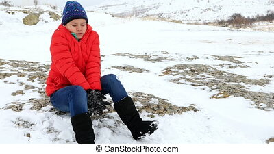 Portrait of freezing child at the outdoors - Portrait of a...