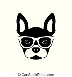 Portrait of french bulldog with glasses, black and white...