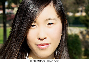 Portrait of fresh young asian american woman