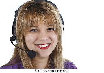 Portrait of friendly secretary/telephone operator wearing headset isolated over white background