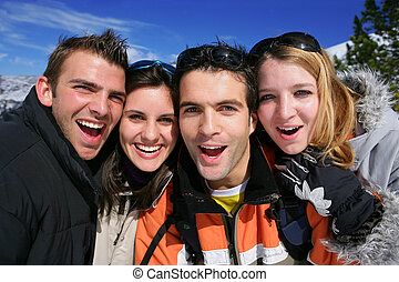 Portrait of friends on a skiing holiday together