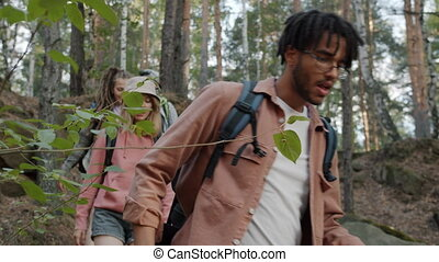Portrait of friends tourists multi-ethnic group walking in mountains with backpacks travelling together enjoying trip on summer day. Youth and tourism concept.