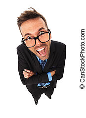 Portrait of funny businessman