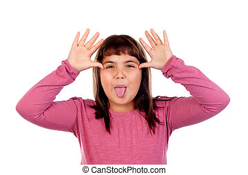 Portrait of funny child showing her handsand show tongue