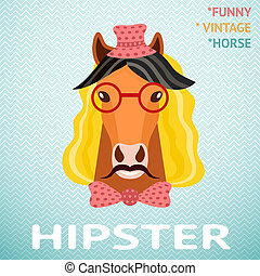 Portrait of funny vintage hipster horse with mustache, red...