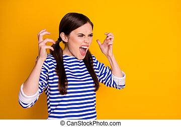 Portrait of furious outraged girl have problem scandal with boyfriend shout yell copyspace wear striped blouse isolated over shine color background