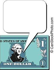 Portrait of George Washington on a one dollar bill blank to write text