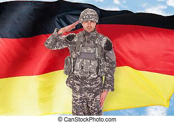 German Soldier - Portrait Of German Soldier Saluting In...