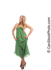 portrait of gesturing blond woman