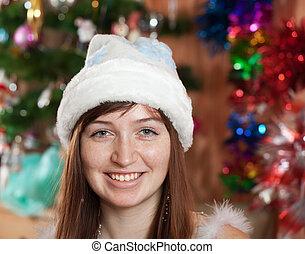 portrait of girl in  Christmas hat